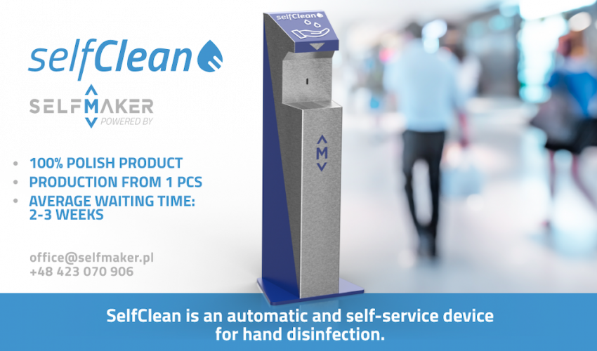 SelfMaker began production of a self-service and contact-free kiosk for hand disinfection